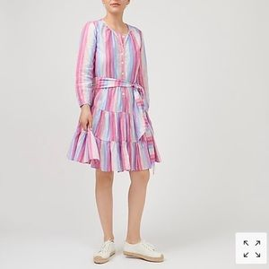 NWT J.Crew Belted Button-Up Dress in Pastel Stripe